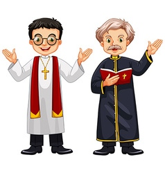Two priests with happy face vector