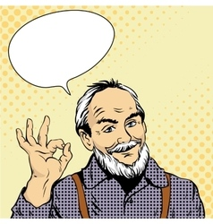 Old man shows ok hand sign in vector