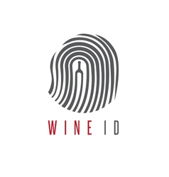 Wine id concept with wine bottle and fingerprint vector