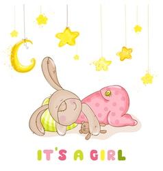 Baby shower - sleeping baby bunny and stars vector