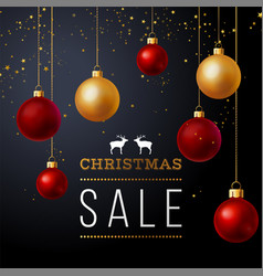 background with balls and christmas sale text vector image