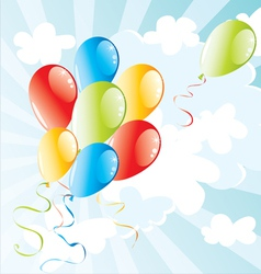 balloons flying in the sky vector image
