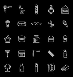 barber line icons on black background vector image vector image