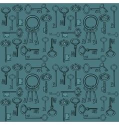 Big set of vintage keys on a dark green background vector image vector image