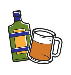 Bottle of liquor and beer glass vector