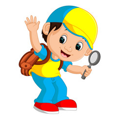 boy holding magnifying glass cartoon vector image