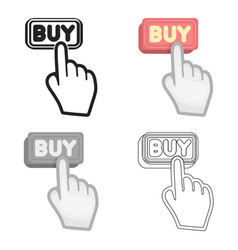 Buying click icon in cartoon style isolated on vector