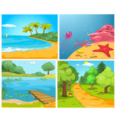 cartoon set of summer backgrounds vector image vector image