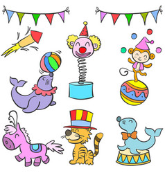 Collection object colorful circus doodle vector
