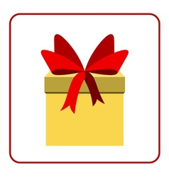 Colorful wrapped gift box icon red bow vector image