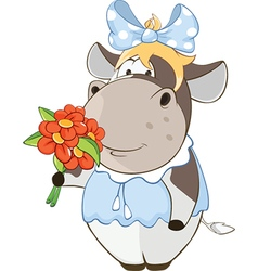 Cute cow and flowers cartoon vector