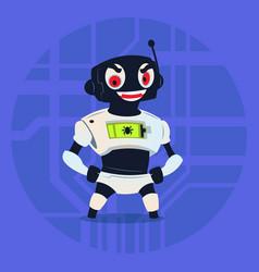 Cute robot wear ninja mask modern artificial vector