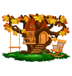 Fabulous tree house swing and rocking chair vector