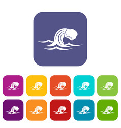Foamy wave icons set vector