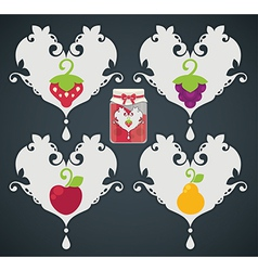 fruits stickers vector image vector image