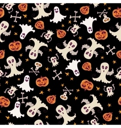 Halloween ghost seamless pattern doodle pattern vector image vector image