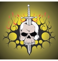 Hand drawn skull slain by a sword the symbol day vector