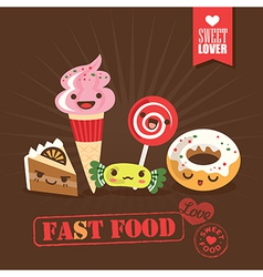 Kawaii fast food sweets candy cartoon characters vector