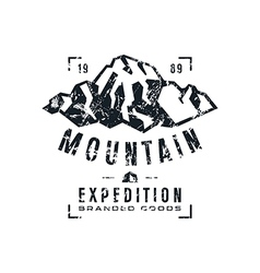 Mountain expedition label with texture vector image vector image