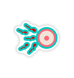 Paper sticker on white background female egg and vector