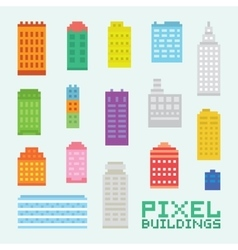 Pixel art isolated buildings set vector image