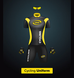 Realistic cycling uniform template black vector