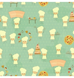 Seamless food background with fun chefs vector
