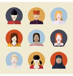 set of women avatars different nationalities in vector image vector image