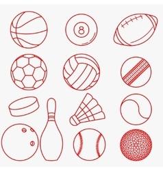 Sport balls red thin line design vector