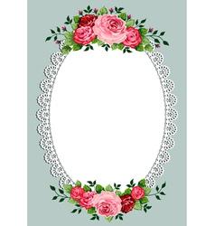 Vintage roses oval frame vector