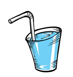 water with straw vector image