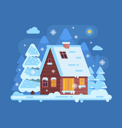 Winter mountain log cabin vector