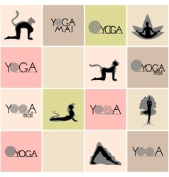 Yoga logos and poses set vector