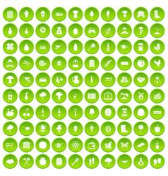 100 farming icons set green circle vector