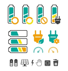 Battery recycling pictograms set vector