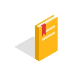 Closed yellow book with a bookmark icon vector