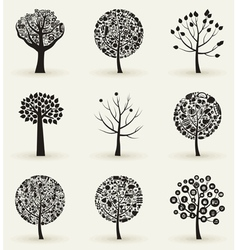 Collection of trees4 vector image