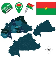 Burkina faso map with named divisions vector