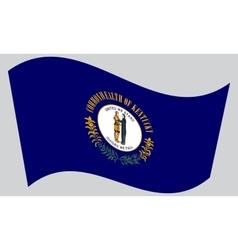Flag of kentucky waving on gray background vector