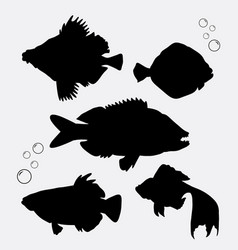 Fish animal silhouette vector