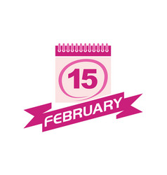 15 february calendar with ribbon vector