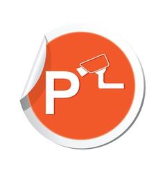 parking under supervizion icon orange sticker vector image