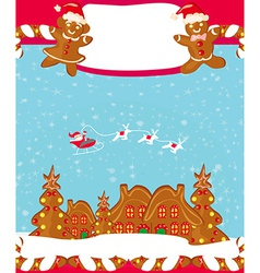 Christmas card with a ginger-bread and santa claus vector