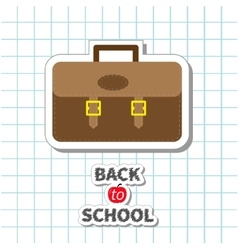 Back to school big brown schoolbag briefcase on vector