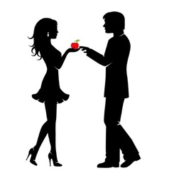 Man woman and the forbidden fruit vector image