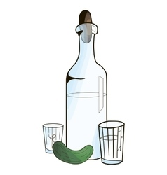 Bottle with vodka and cucumber vector