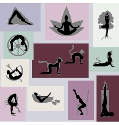 Yoga poses set with visualization vector