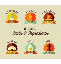 Healthy food label design set in flat style vector