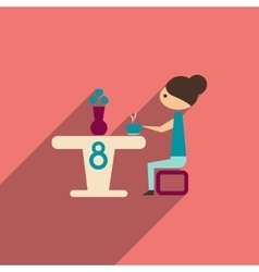 Flat icon with long shadow girl sitting at table vector