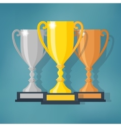 Gold Silver and Bronze Trophy Cup vector image